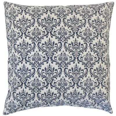 Janine Damask Floor Pillow Color: Navy