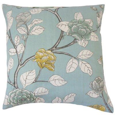 Rhonda Floral Floor Pillow Color: Aqua