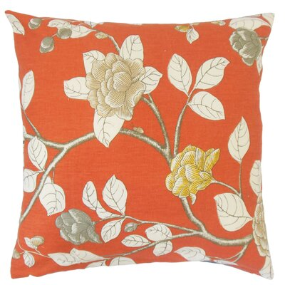 Rhonda Floral Floor Pillow Color: Persimmon