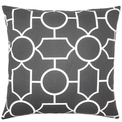 Hecate Geometric Floor Pillow Color: Ebony