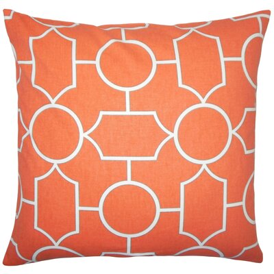 Leaston Hecate Geometric Floor Pillow Color: Papaya