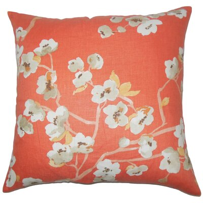 Albertine Floral Floor Pillow Color: Papaya