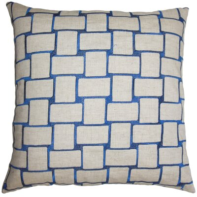 Hartt Geometric Floor Pillow Color: Navy