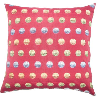 Clark Polka Dots Floor Pillow Color: Red