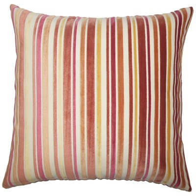 Adelia Striped Floor Pillow Color: Melon