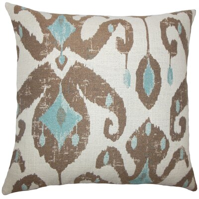 Broughtonville Ikat Floor Pillow Color: Aqua/Cocoa