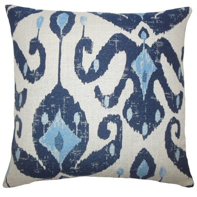 Broughtonville Ikat Floor Pillow Color: Navy
