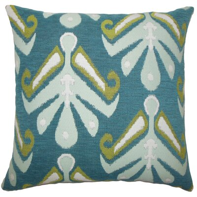 Donoho Ikat Floor Pillow Color: Aqua/Green