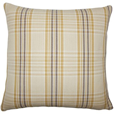 Joanna Plaid Floor Pillow Brown Color: Natural Gold