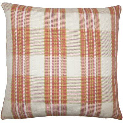 Joanna Plaid Floor Pillow Brown Color: Rose/Green