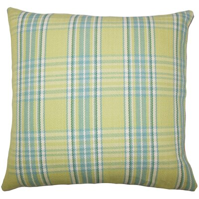 Joanna Plaid Floor Pillow Brown Color: Spring Green