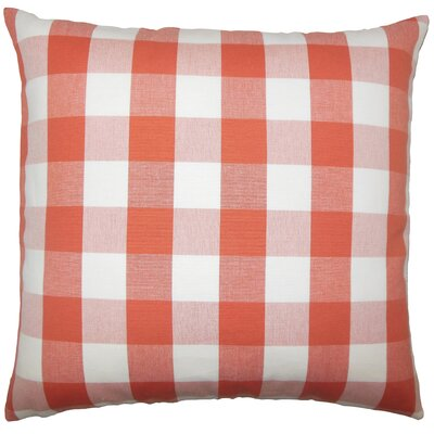 Montreuil Plaid Floor Pillow Color: Papaya
