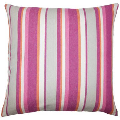 Alder Striped Floor Pillow Color: Berry