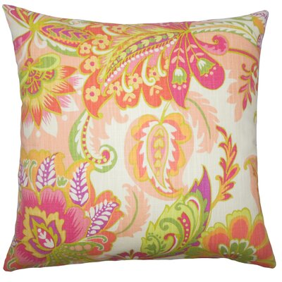 Adelina Floral Floor Pillow Color: Melon
