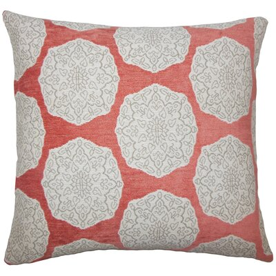Kathleen Geometric Floor Pillow Color: Coral