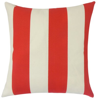 Angilia Striped Floor Pillow Color: Red