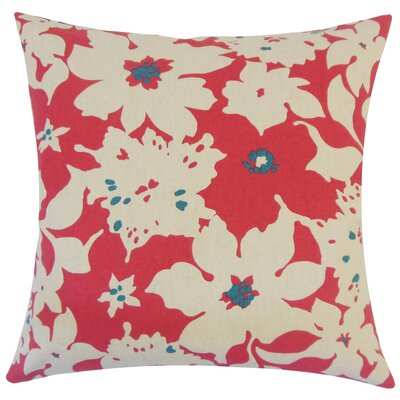 Lavina Floral Floor Pillow Color: Poppy