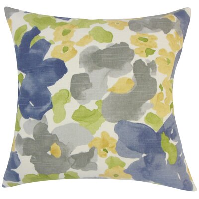 Paulette Floral Floor Pillow Color: Gray