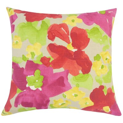 Paulette Floral Floor Pillow Color: Poppy