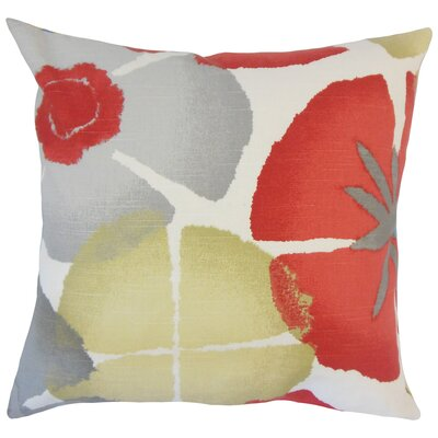 Frierson Floral Floor Pillow Color: Coral