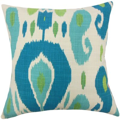 Broxburne Ikat Floor Pillow Color: Aqua/Green
