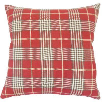 Datro Plaid Down Filled 100% Cotton Lumbar Pillow Color: Red