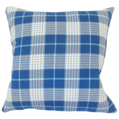 Datro Plaid Down Filled 100% Cotton Throw Pillow Size: 18 x 18, Color: Blue