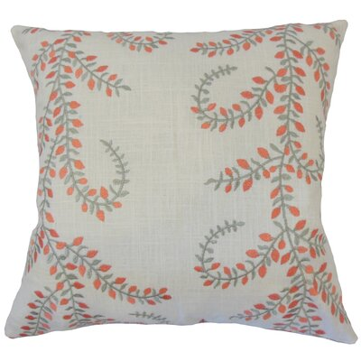 Caley Floral Down Filled Linen Throw Pillow Size: 18 x 18, Color: Coral