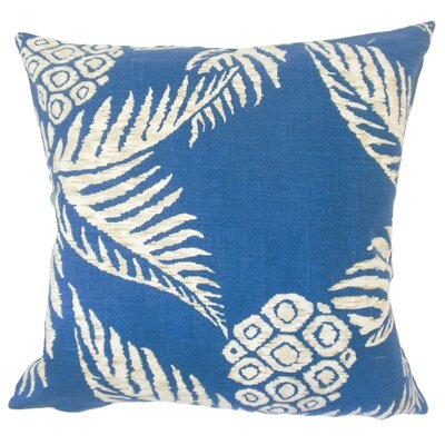 Dre Floral Down Filled 100% Cotton Lumbar Pillow Color: Navy