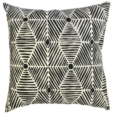Vamo Geometric Down Filled 100% Cotton Lumbar Pillow Color: Black