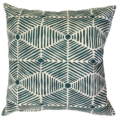 Vamo Geometric Down Filled 100% Cotton Lumbar Pillow Color: Blue