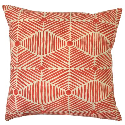 Vamo Geometric Down Filled 100% Cotton Throw Pillow Size: 18 x 18, Color: Salmon