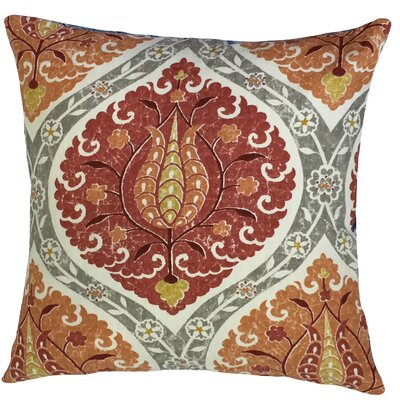 Aero Ikat Down Filled Linen Throw Pillow Size: 24 x 24, Color: Pomegranate