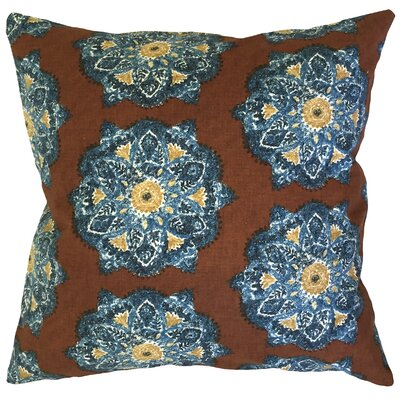 Umatilla Damask Down Filled 100% Cotton Lumbar Pillow Color: Cognac