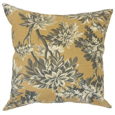 Haeli Floral Down Filled 100% Cotton Throw Pillow Size: 18 x 18, Color: Amber