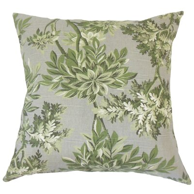Haeli Floral Down Filled 100% Cotton Lumbar Pillow Color: Graystone