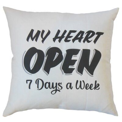 Dunnam My Heart Open Text White Floor Pillow