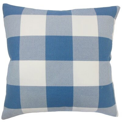 Ronzi Plaid Down Filled 100% Cotton Lumbar Pillow Color: Blue