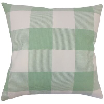 Ronzi Plaid Down Filled 100% Cotton Lumbar Pillow Color: Aqua