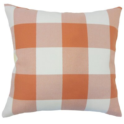 Ronzi Plaid Down Filled 100% Cotton Lumbar Pillow Color: Orange