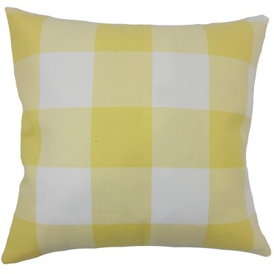 Ronzi Plaid Down Filled 100% Cotton Throw Pillow Size: 18 x 18, Color: Yellow