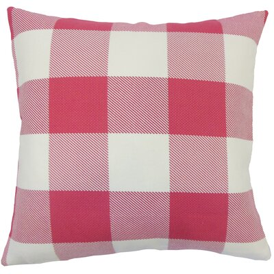 Ronzi Plaid Down Filled 100% Cotton Throw Pillow Size: 24 x 24, Color: Pink