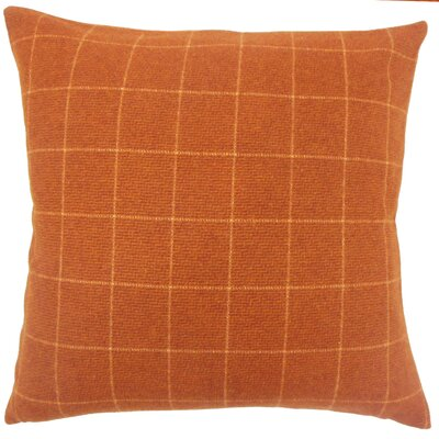 Darya Plaid Floor Pillow Color: Orange