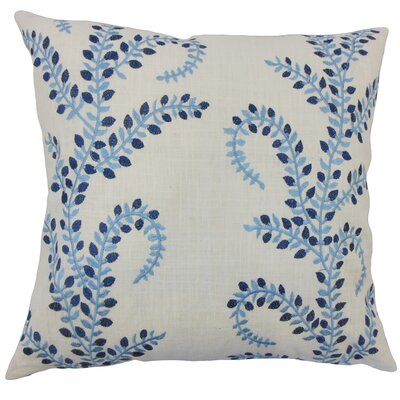 Caley Floral Down Filled Linen Throw Pillow Size: 24 x 24, Color: Chambray