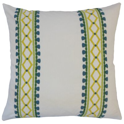 Kinser Geometric Down Filled 100% Cotton Throw Pillow Size: 22 x 22, Color: Palm