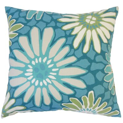 Calvary Floral Down Filled 100% Cotton Throw Pillow Size: 20 x 20, Color: Turquoise