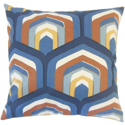 Shana Geometric Down Filled 100% Cotton Lumbar Pillow Color: Cognac