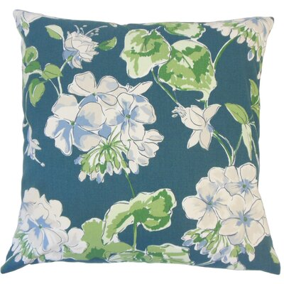 Cesare Floral Down Filled 100% Cotton Lumbar Pillow Color: Lagoon
