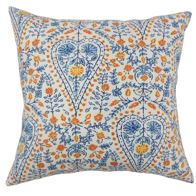 Zyra Down Filled 100% Cotton Lumbar Pillow Color: Blue