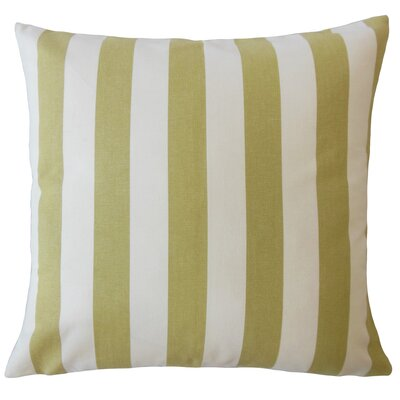 Promfret Striped Down Filled 100% Cotton Throw Pillow Size: 18 x 18, Color: Avocado